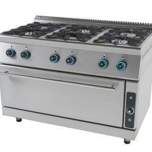 Κουζίνα υγραερίου 6 εστίες και ενιαίο φούρνο