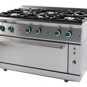 Κουζίνα υγραερίου 6 εστίες με ενιαίο φούρνο