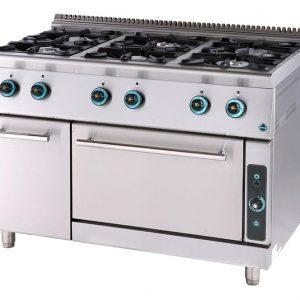 Κουζίνα υγραερίου 6 εστίες με φούρνο και ερμάριο
